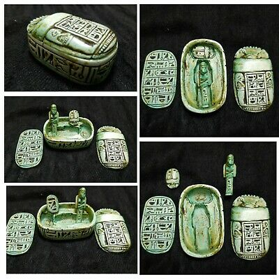 Ancient Egyptian Antiques Scarab Box With Ushabti And Scarab Hieroglyphics BC