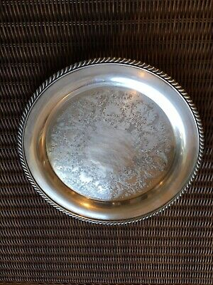 """Antique Victorian Ornate Silver Plated Tray With Rope Design 11"""""""