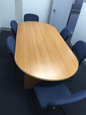 Office board room meeting table 2.4m long with 6 chairs