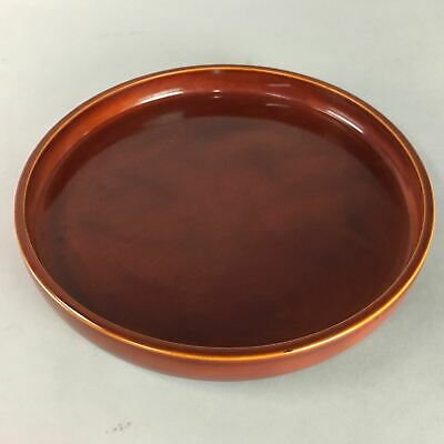 Japanese Shunkei Nuri Lacquer Ware Tray Vtg Obon Wood Round Brown Red UR216