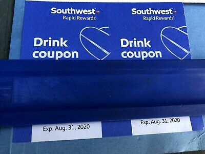 Two (2) Southwest Airlines Drink Coupons Expire 8/31/2020