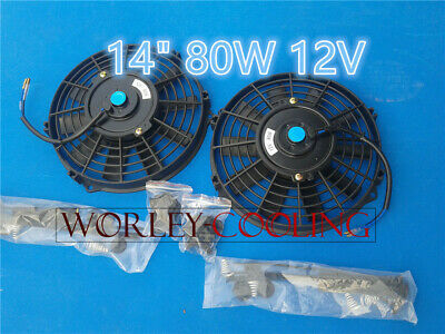 "2 UNIVERSAL 14"" inch Universal Electric Radiator Fans New with mounting kits"