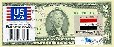 $2 Dollars 2013 Stamp Cancel Flag Of Un From Syrian Arab Republic Value $150