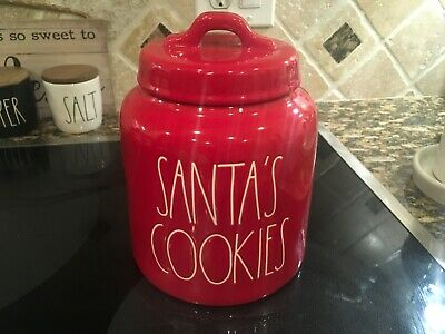 Rae Dunn Santas Cookies Red Canister 2019 New Christmas Decor HTF