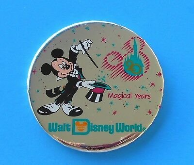 WALT DISNEY WORLD 20th ANNIVERSARY BUTTON MICKEY IN TUXEDO 20 MAGICAL YEARS 1991
