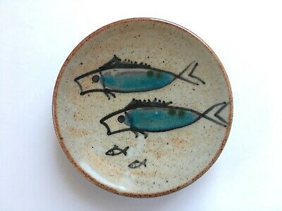 Mid Century Koi Fish Art Pottery Footed Plate Japanese Modern Hand Painted Dish