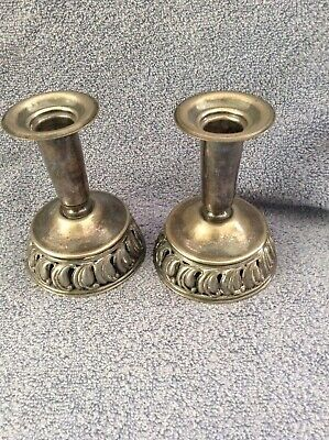 Vintage Lot 2 Silver Plate Candle Stick Holders Tall Cut Out Pierced UNUSUAL