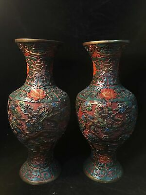 A pair Chinese Qing Qianlong marked Old Lacquer ware carved dragon vase