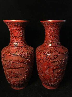 A pair Chinese Qianlong marked Old Lacquer ware carved landscape pine vase pot