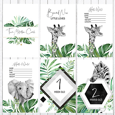 Twins Baby Milestone Cards, 4x6 Photo Prop, Greenery, Giraffe,Zebra, Elephant