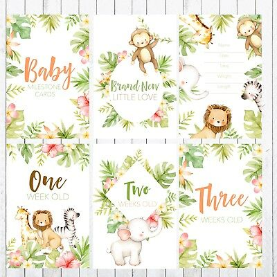 Baby Milestone Cards, 4x6 Photo Prop, 32 cards, Safari, Jungle Animals