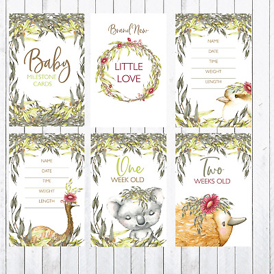 Baby Milestone Cards, 4x6 Photo Prop,  Australia Animals, Emu, Koala, Kookaburra