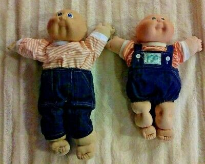 Cabbage Patch Kids Big & Little Brother Signed W/Official CP Clothing