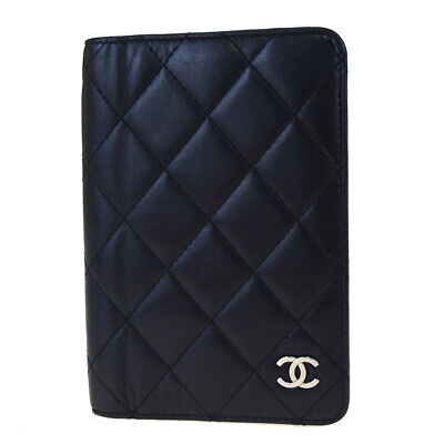Auth CHANEL CC Agenda Day Planner Notebook Cover Leather Black Italy 07BK582