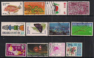 Hong Kong 1953 – 1991 QE2 Selection of 12 used stamps ( C526 )