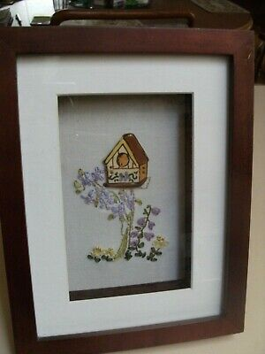 Framed embroidery- BIRD HOUSE with flowers
