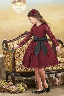 Chasing Fireflies Girls Holiday Christmas Red Lace Black Sash Bow Dress 7