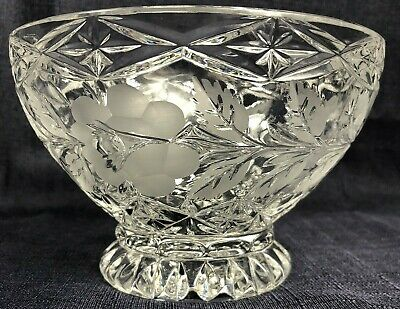 German Lausitzer Etched Crystal Pedestal Bowl with Frosted Roses
