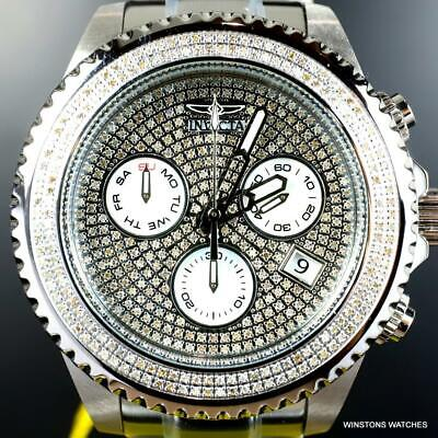 Invicta Grand Diver 1.94 CTW Diamond Chronograph Stainless Steel Watch 47mm New