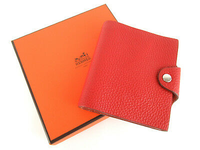 "Authentic Hermes Red Leather 4.5"" x  4.1"" Agenda Note Cover + Note Book, Box"