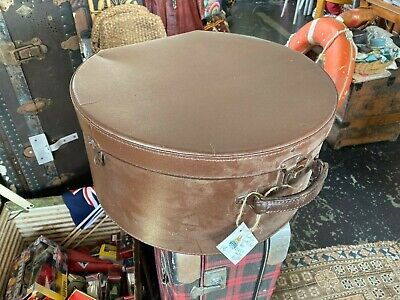 Vintage leather hat box in  genuine hide lined and with oringal latches & hinges