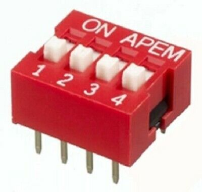 Apem DIP SWITCHES 40Pcs 25mA 4-Positions 4PST Through Hole, Recessed Actuator