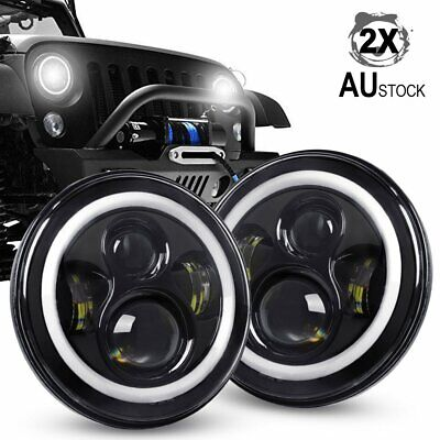 7 inch 200W CREE Round LED Headlights Jeep Wrangler TJ JK 97-18 Halo Angel Eyes