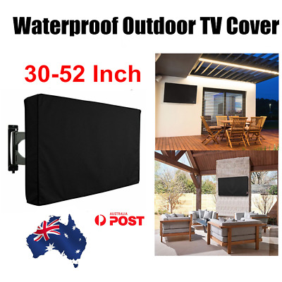 30-50 Inch Waterproof TV Cover Outdoor Patio Flat Television Protector Black AU