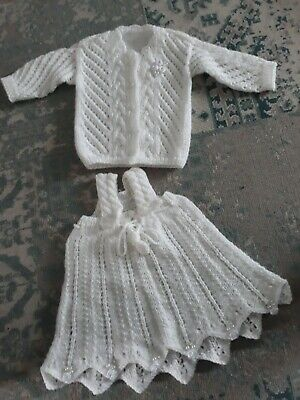White Knitted 3-6months Girls Outfit Christmas Christening  Jumper And Skirt