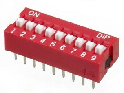 Apem DIP SWITCHES 19Pcs 25mA 9-Positions 9PST Through Hole, Raised Actuator