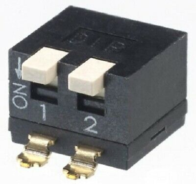 Apem DIP SWITCHES 5Pcs 25mA 2-Positions DPST Surface Mount,Piano,Raised Actuator