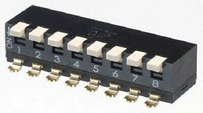 Apem DIP SWITCHES 5Pcs 25mA 8-Way 8PST Surface Mount, Piano, Raised Actuator