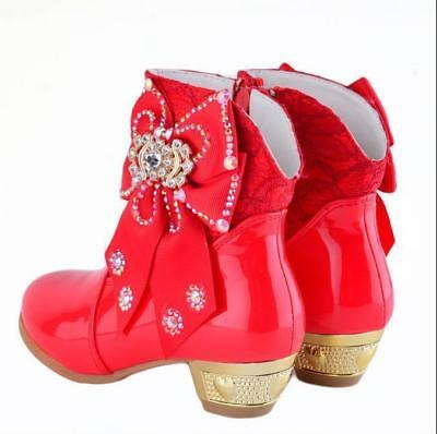 Girls Kids Diamante Bowknot High Heels Princess Shoes Children Ankle Boots Chic