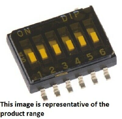 Apem DIP SWITCHES 40Pcs 25mA 8-Way SPST Surface Mount, Flush Slide, Gold Plate