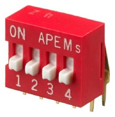 Apem DIP SWITCHES 5Pcs 25mA 4-Way SPST Through Hole, Raised, Phosphor Bronze