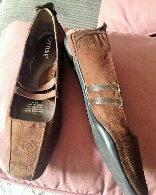 Brown suede look slip on casual flats size 8 - never worn, stored in box 6 month