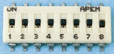 Apem DIP SWITCH 100mA 6-Way Through Hole,Slide,Gold Plated Beryllium Copper