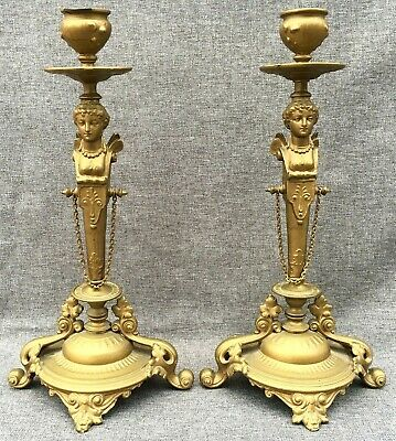 Antique pair of french candlesticks regule gold tone 19th century Empire style