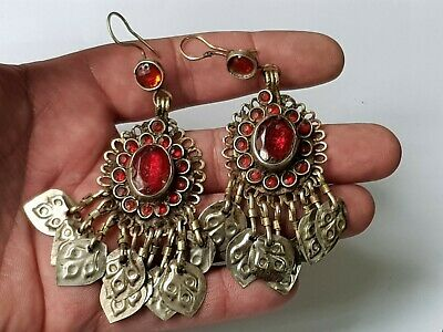 Fantastic Rare Late Medieval Silvered Pair Of Ottoman Earings