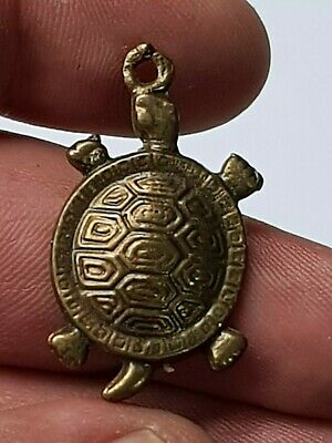 Stunning Rare Intact Bronze Pendant/Turtle  Rare Medieval 2.9 Gr 35 Mm