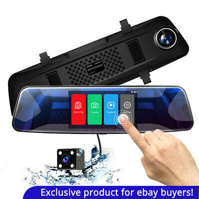 "AZDOME Mirror Dash Cam 4.3"" Touch Screen 1080P Dual Lens DVR Car Rear Camera"