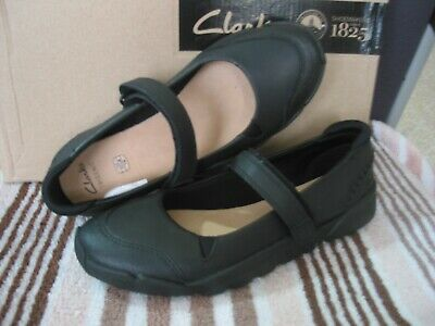 New Older Girls Clarks Trigenic Tri Rossie Blk Leather School Shoes Various Size
