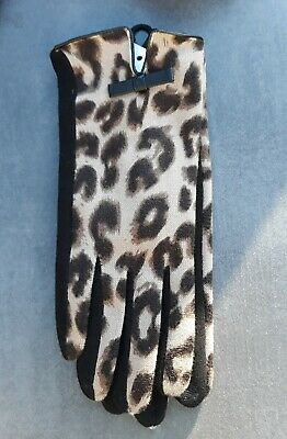Ladies Fashion Leopard Animal Print Bow Gloves Touch Screen Bnwt Free Uk P&P