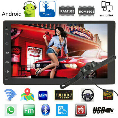 "GPS 7"" inch Double 2 DIN Car MP5 Player BT WIFI Touch Screen Stereo + Camera WF"