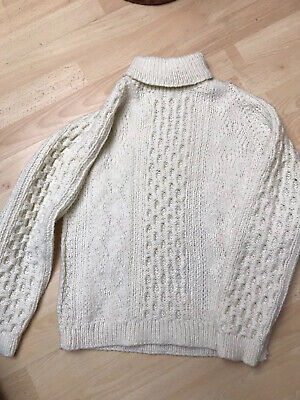 HAND KNITTED ARRAN CHILDS  JUMPER - Polo Neck CHEST SIZE 32""
