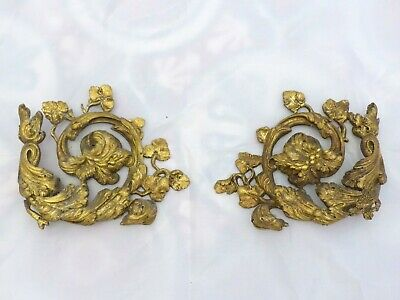Late 19TH Pair Large French Bronze Pediment Furniture Mount Hardware Salvage
