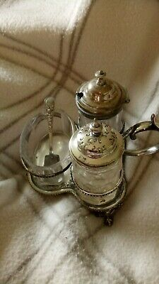 VINTAGE  SILVER PLATED ?  EPNS  CRUET SET  SALT, PEPPER & MUSTARD with spoon