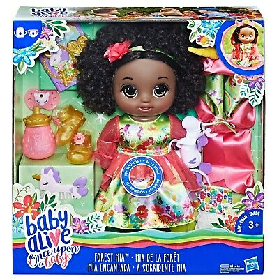 Hasbro Baby Alive Once Upon a Baby Forest Tales Forest Mia with Black Curly Hair