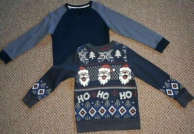 2 Lovely Boys Sweatshirts Age 7-8, 122-128Cm 1 Christmas (Jumper Type) 1 Plain