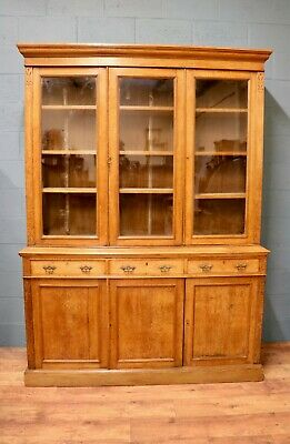 Victorian Oak 3 Door Glazed Bookcase (100791)